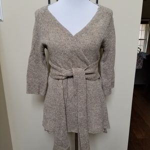 Anthropologie small wool wrap belted cardigan